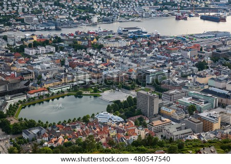 BERGEN, NORWAY-JULY 15: The view of Bergen 15, 2016 in Bergen, Norway. View to the city from the Ulriken hill.