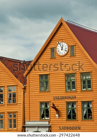 BERGEN, NORWAY - 25 JUNE, 2015: Traditional houses in Bryggen, the old town of Bergen, Norway on 25 June 2015. Bergen is the second largest city in Norway.