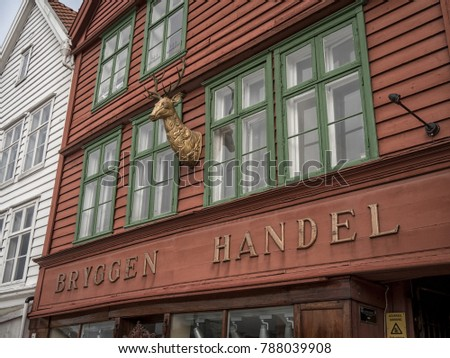 Bergen, Norway - March 2017: Detail outside the front of bryggen historic shopping store