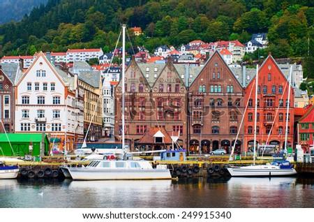 BERGEN, NORWAY -SEPT 25, 2014:Historical buildings on the street in Bergen on Sept 25, 2014, Norway - stock photo