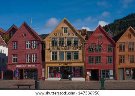BERGEN, NORWAY - SEPTEMBER 21: The UNESCO World Heritage Site, Bryggen, in the city of Bergen, Norway, on September 21, 2010. Bryggen is famous for its old wooden buildings.