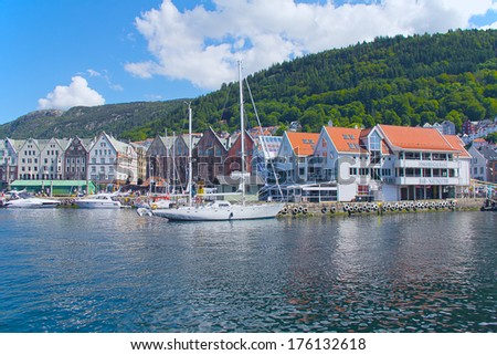 Bergen, Norway view from the shore - stock photo
