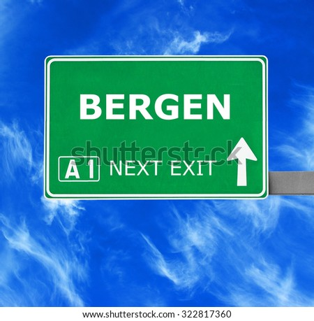 BERGEN road sign against clear blue sky