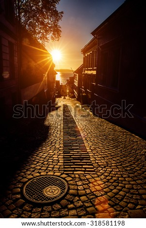 Bergen Street at sunset Norway - stock photo
