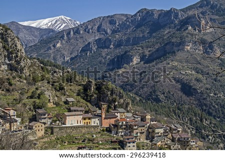 Bergue small mountain village high above the French Roya Valley - stock photo
