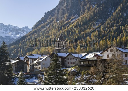 Berguen - idyllic village in the Albula valley in the Rhaetian Alps - stock photo