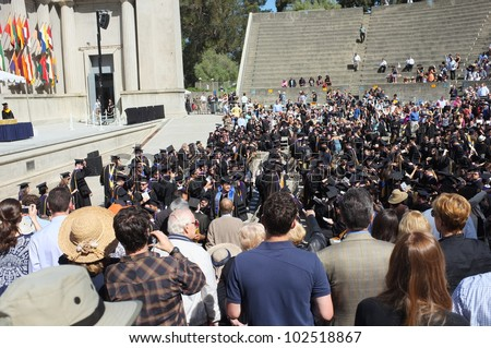 BERKELEY, CA - MAY 11:Graduates file into the Greek Theater for the University of California law school commencement exercises on May 11, 2012,  in Berkeley, California.