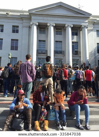 BERKELEY,CA-NOV 5, 2015: 700 Berkeley High School students waged a non-violent protest over anonymous racist hate messages found on campus. They marched through town to UC Berkeley, shown here.  - stock photo