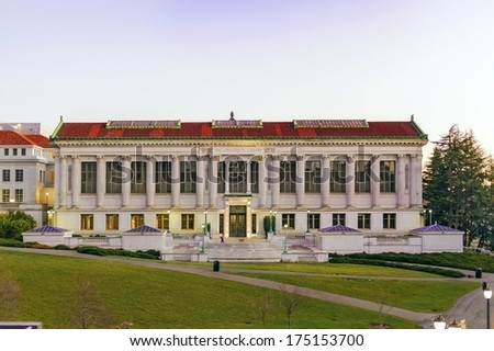BERKELEY, CA/USA - FEBRUARY 2014: The University Library on the campus of the University of California, Berkeley is the fourth largest University library in the United States. February 4th 2014 - stock photo
