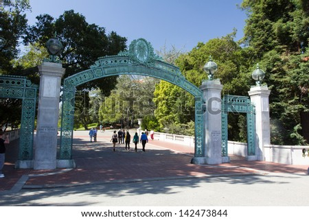 BERKELEY, CA/USA - JUNE 15: Historic Sather Gate on the campus of the University of California at Berkeley is a prominent landmark leading to Sproul Plaza.  June 15, 2013. - stock photo