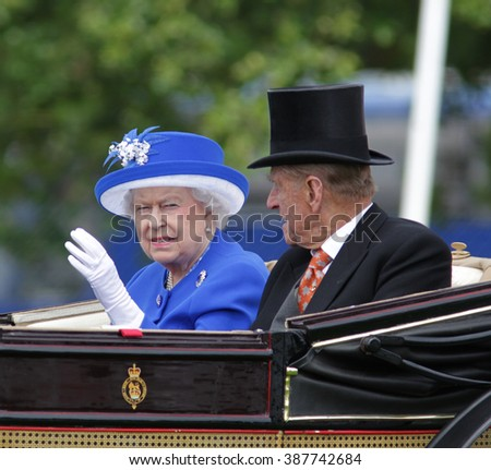 BERKSHIRE - JUN 17, 2015: Queen Elizabeth II and Prince Philip attend Royal Ascot day two on Jun 17, 2015 in Berkshire - stock photo