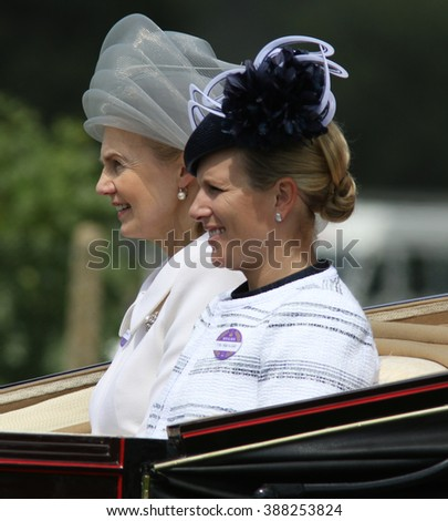 BERKSHIRE - JUN 19, 2015: Zara Phillips ( R ) attends Royal Ascot day four on Jun 19, 2015 in Berkshire