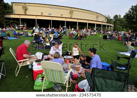 Berkshires, MA, USA �¢?? August. 8. 2010: Summer concert at Tanglewood Music Festival, Berkshires, state of Massachusetts, USA - stock photo