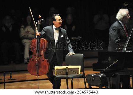 Berkshires, MA, USA -?? August. 15. 2011: Yo-Yo Ma, the world famous cellist at Ozawa Hall, Tanglewood Music Festival, Berkshires, state of Massachusetts, USA - stock photo