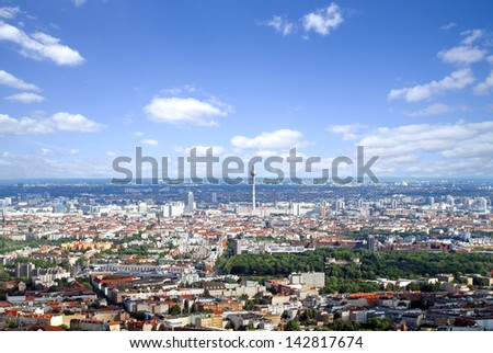 berlin aerial photo with television tower and high rises - stock photo