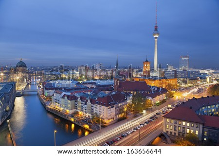 Berlin. Aerial view of Berlin during twilight blue hour. - stock photo
