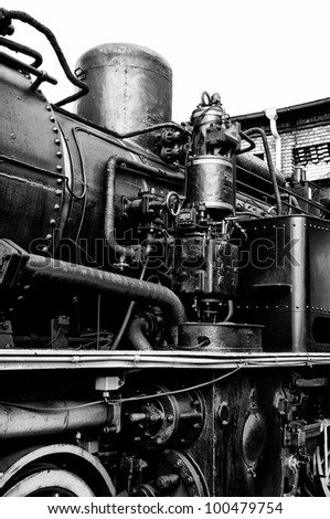 BERLIN - APRIL 14: Air pump steam locomotive (Black & White), Spring Festival, the exhibition in the Rail yard Schoeneweide, April 14, 2012 in Berlin, Germany