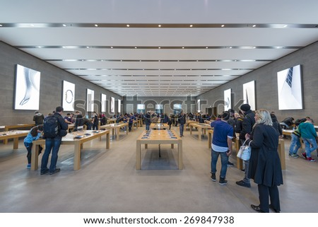 BERLIN - APRIL 14:Apple Store from inside on Kurfuerstendamm. Apple is dealing in computers and innovative consumer electronics, April 14, 2015, Berlin, Germany - stock photo