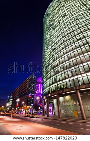 BERLIN - APRIL 16: night view of the German Rail Tower and the spectacular Sony Center at the famous Potsdamer Square on April 19, 2016 in Berlin.