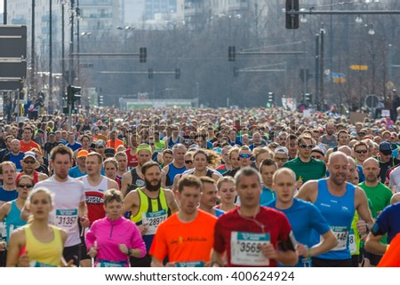 BERLIN - APRIL 03, 2016: The annual Berlin Half Marathon. Race through the city streets.
