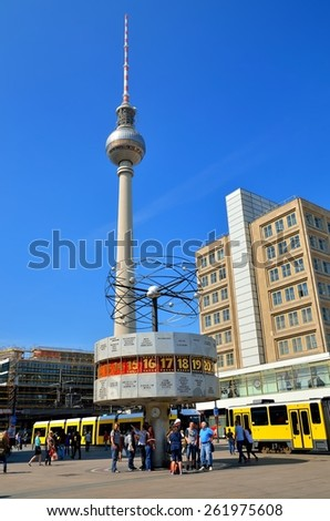 BERLIN - April 30, 2014: The World Clock and TV Tower in Berlin. World Clock (Weltzeituhr) and Fernsehturm are situaded on Alexanderplatz.