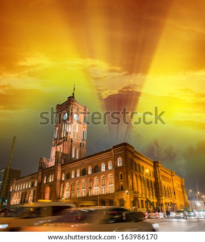 Berlin Architecture - Rotes Rathaus in Alexanderplatz - Germany. - stock photo
