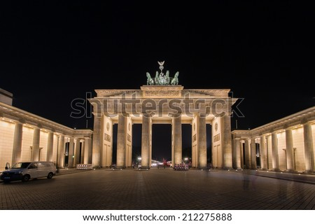 BERLIN - AUG 07: Brandenburg Gate at night Aug 07, 2014 in Berlin, Germany - The Brandenburg Gate is a monumental gate built in the eighteenth century as a symbol of peace