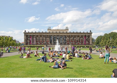 BERLIN - AUGUST 6: Altes Museum (Old Museum) located on Museum Island, a UNESCO-designated World Heritage Site on Berlin, Germany on August 6, 2012. - stock photo