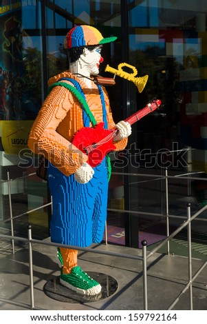 BERLIN - AUGUST 31: Musician of LEGO bricks in front in the Legoland Discovery Centre in the Sony Center on Potsdamer Platz, August 31, 2012 in Berlin, Germany