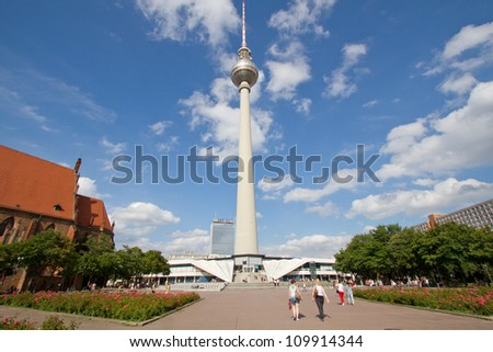 BERLIN, AUGUST 6: Panoramic view of Berlin TV tower or Fernsehturm, Alexanderplatz, Germany on August 6, 2012. From tower, viewer have 360 degree view at Berlin. - stock photo