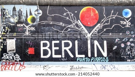 BERLIN - AUGUST 24, 2014 : The East Side Gallery is the largest outdoor art gallery in the world. This is a graffiti  with Berlin letters and reference to other world  metropolises. - stock photo