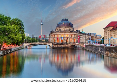 Berlin, Bode museum with reflection in Spree, Germany - stock photo