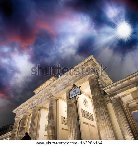 Berlin. Brandenburg Gate at sunset from Platz des 18 Marz. Magnificent landmark structure. - stock photo