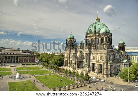 Berlin Cathedral (Berliner Dom) and Lustgarten located on Museum Island (Museumsinsel), Berlin Mitte, Germany, Europe - stock photo