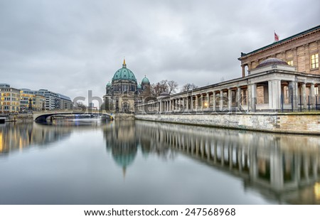 Berlin Cathedral (Berliner Dom) and Museum Island (Museumsinsel) reflected in Spree River, Berlin, Germany, Europe - stock photo