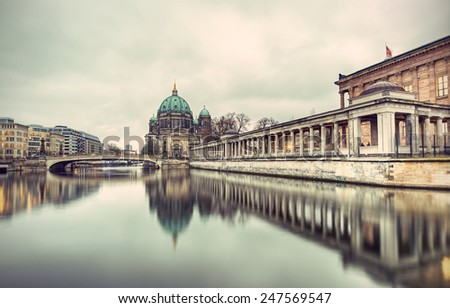 Berlin Cathedral (Berliner Dom) and Museum Island (Museumsinsel) reflected in Spree River, Berlin, Germany, Europe, vintage style