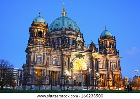 Berlin Cathedral (Berliner Dom) at evening, Berlin, Germany  - stock photo