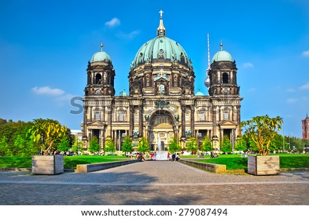 Berlin Cathedral (Berliner Dom) famous landmark in Berlin City, Germany - stock photo