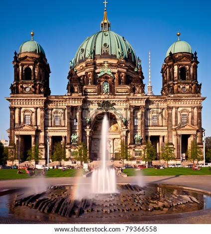 Berlin Cathedral (Berliner Dom), famous landmark in Berlin, Germany at sunny day with blue sky - stock photo