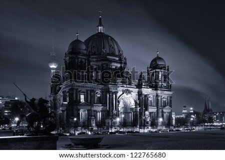 Berlin Cathedral (Berliner Dom) in the night illumination. Toning - stock photo