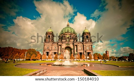 Berlin Cathedral (Berliner Dom) in vintage style, Germany - stock photo