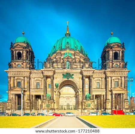 Berlin Cathedral (Berliner Dom) panorama at Sunny Day with Dynamic Clouds, famous landmark in Berlin City, Germany