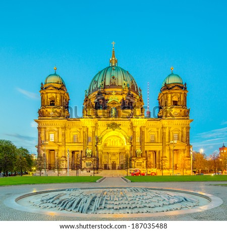 Berlin Cathedral (Berliner Dom) panorama at Sunny Day with Dynamic Clouds, famous landmark in Berlin City, Germany - stock photo