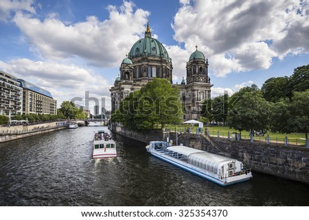 Berlin Cathedral. German Berliner Dom. A famous landmark on the Museum Island in Mitte, Berlin, Germany. - stock photo