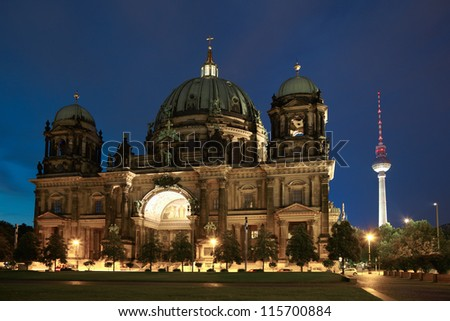 Berlin cathedral or Berliner Dom at night, Germany - stock photo