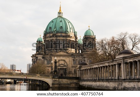 Berlin Cathedral or  Berliner Dom is the short name for the Evangelical  Supreme Parish and Collegiate Church  in Berlin, Germany located on Museum Island in the Mitte borough. - stock photo