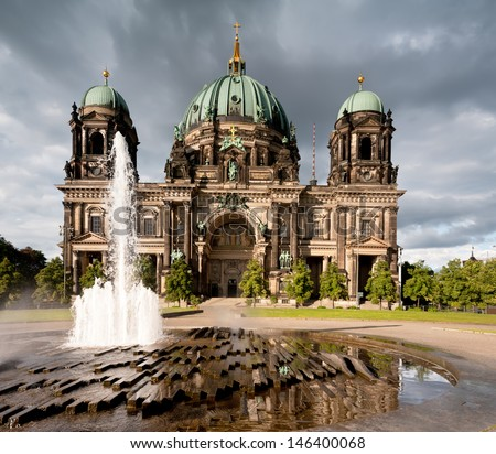 Berlin Cathedral with fountain in front - stock photo