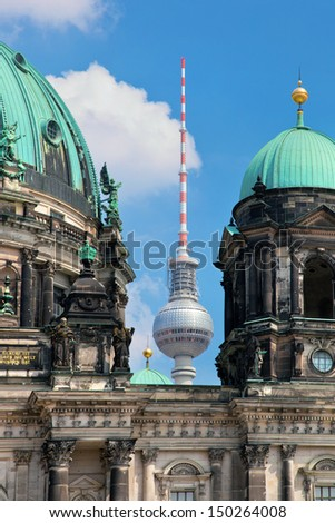Berlin Catherdral and Television Tower in Berlin, Germany. German Berliner Dom and Fernsehturm - stock photo