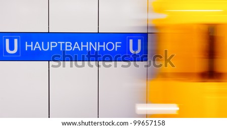 Berlin Central Station (Hauptbahnhof) Traffic with high dynamic motion blur speed on underground train station - stock photo