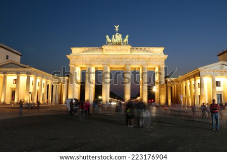 BERLIN - CIRCA SEPTEMBER 2014: the Brandenburg Gate (Brandenburger Tor), Pariser Platz, Berlin.